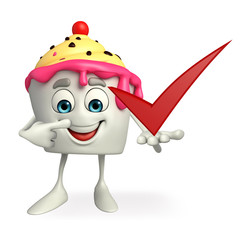 Ice Cream character with right sign