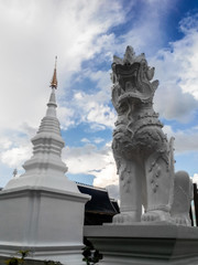 White lion with pagoda in Wat Banden, Chiangmai Thailand