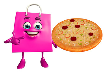 Shopping bag character with pizza