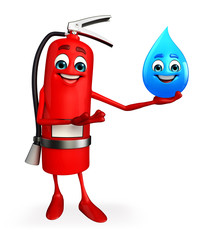 Fire Extinguisher character with water drop