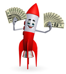 Rocket character with dollars