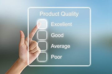 hand pushing product quality on virtual screen