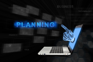 pointing hand planning with digital background