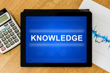 knowledge word on digital tablet