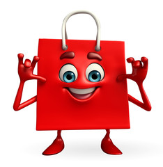 Shopping bag character  with teasing pose