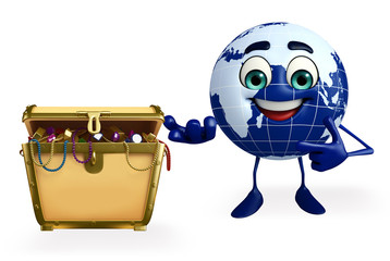 Earth Character with treasure box