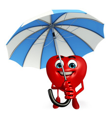Heart Shape character with umbrella