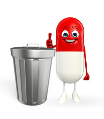Pill Character with dustbin
