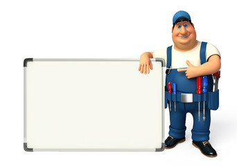 Young Plumber with display board