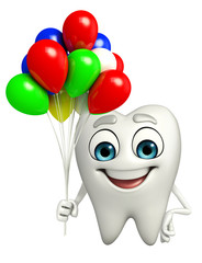 Teeth character with Balloon