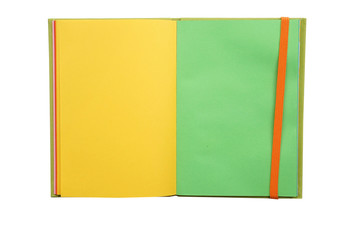 Yellow and green pages notebook paper