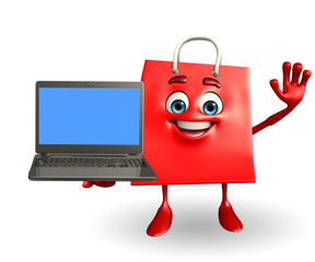 Shopping bag character with laptop