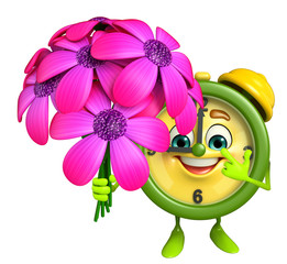 Table clock character with flower