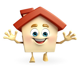House character with happy pose