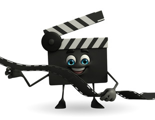 Clapper Board Character with film roll