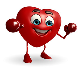 Heart Shape character with boxing gloves