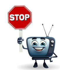 TV character with stop sign
