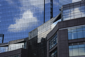 Clouds Reflected on glass skyscrapers