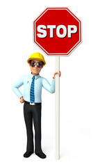 Young Service Man with Stop sign