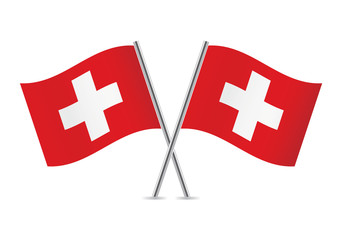 Switzerland flags. Vector illustration.