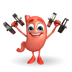 Cartoon Character of stomach with dumbbells