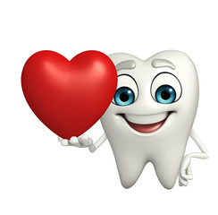 Teeth character with red heart