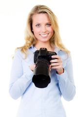 young woman with a digital camera