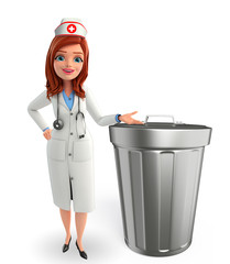 Nurse Character with  dustbin