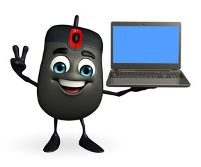 Computer Mouse Character with Laptop