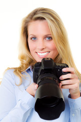 young woman taking pictures