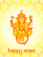 Ganesha postcard for Onam holiday