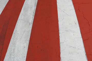 Red-white marking of a zebra of the crosswalk