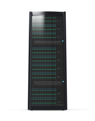 Blade server rack isolated on white background
