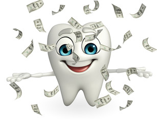 Teeth character with dollars