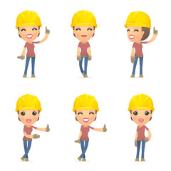 set builder girl of character in different poses