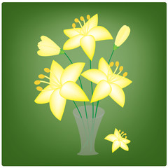 vector yellow lilies in a vase on the green background