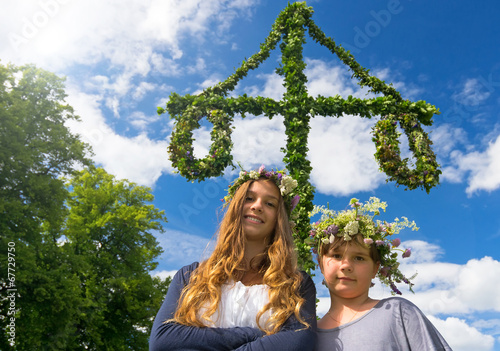 Adorable girls on midsummer Swedish party - 67729750