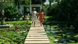 Couple walking on footbridge in exotic garden and holding hands