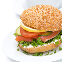 healthy burger with cheese, salmon and vegetables
