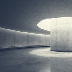 Empty concrete open space interior with sunlight