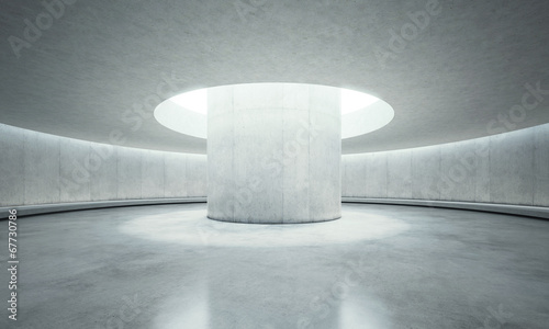 empty concrete open space interior with sunlight - 67730786