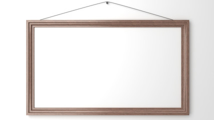 wooden blank frame on white wall