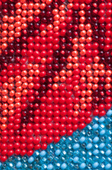 Red and blue beads abstract background