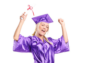 Female student celebrating her graduation