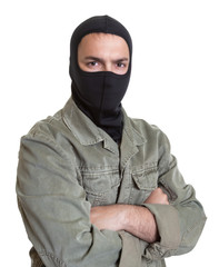 Masked burglar looking at camera