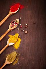 Spice on a wooden spoons