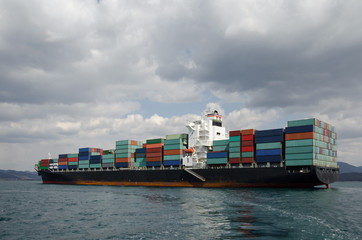 Container vessel on anchorage