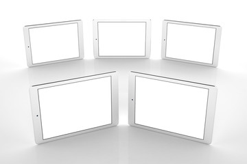 Tablets on white background