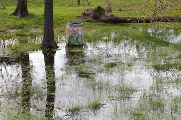 Flooded fields - Field under flood water.