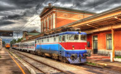 Croatian passenger train in Rijeka station